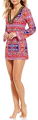 La Blanca Global Perspective V-Neck Long Sleeve Beaded Trim Tunic $99 thestylecure.com