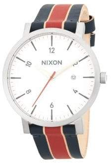 Nixon Stainless Steel Stripe Leather-Strap Watch