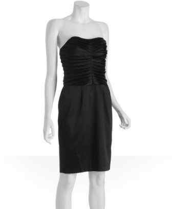 Kay Unger black satin strapless pleated bustier cocktail dress