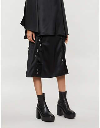 HANGER Expando lace-detail satin skirt
