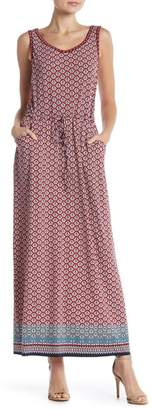 Max Studio Patterned Drawstring Waist Maxi Dress