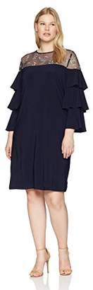 Gabby Skye Women's Plus Size Ruffled Sleeve Dress