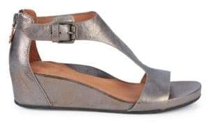 Gentle Souls Judith Leather T-Strap Wedge Sandals