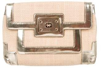 Anya Hindmarch Leather-Trimmed Woven Straw Clutch