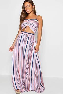 boohoo NEW Womens Petite Bella Double Knot Denim Stripe Maxi Dress in Blue size