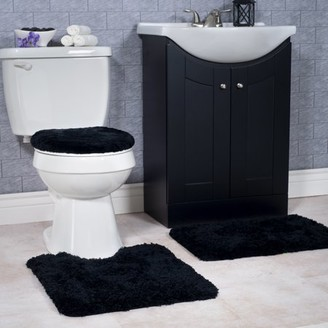 Somerset Home 3 Piece Super Plush Non-Slip Bath Rug Set - Platinum