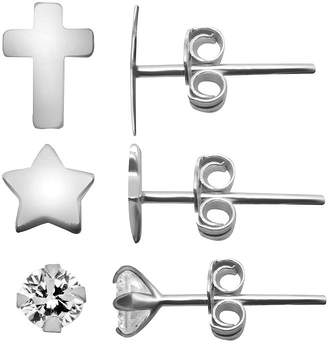 Silver Cross ITSY BITSY Itsy Bitsy Ear Trios 3 Pair Simulated Clear Sterling Earring Set