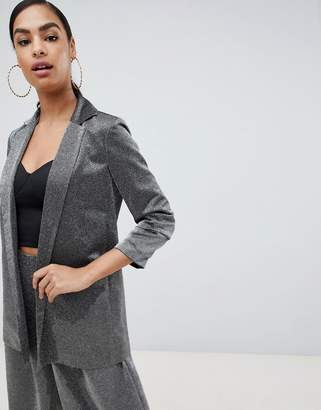 Asos Design DESIGN relaxed suit blazer in metallic