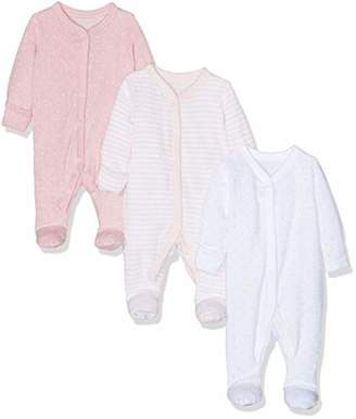 Mothercare Baby Girls' Pink Towelling Sleepsuits - 3 Pack Bodysuit,(Size:80CM)