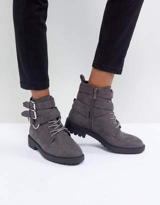 Helena Raid RAID Gray Multi Buckle Grunge Flat Ankle Boots