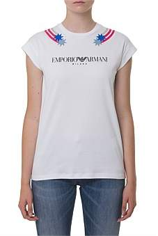 Emporio Armani Printed T-Shirt With Turned Up Sleeves