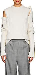 Calvin Klein Women's Rib-Knit Wool-Blend Sleeveless Sweater-White Black Yellow
