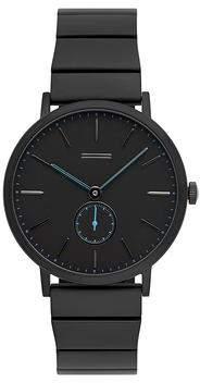 Uri Minkoff Norrebro Black Tone Black Leather Strap Watch, 40MM