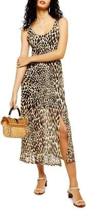 Topshop Animal-Print Sleeveless Mesh Midi Dress
