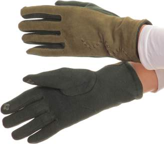 Sakkas 16164 - Lidy Leather Embroidered Comfortable Warm Snow Touch Screen Finger Gloves - S/M