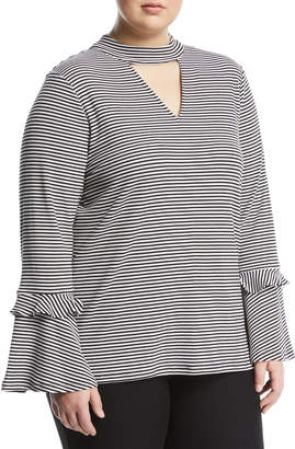 MICHAEL Michael Kors Striped Choker-Neck Flare-Sleeve Tee, Plus Size