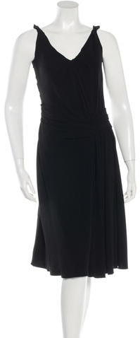prada Prada Sleeveless Pleated Dress