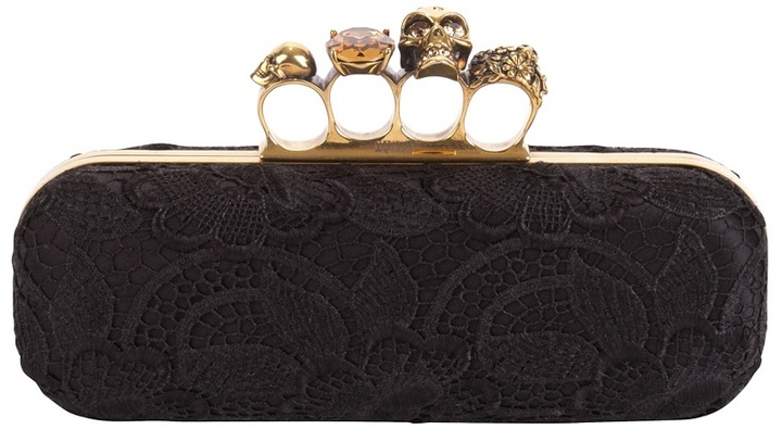 Alexander McQueen Orchid Lacquered Lace Knuckle Box Clutch