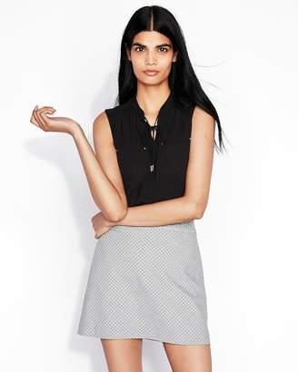 Express High Waisted Mini Check Clean A-Line Mini Skirt