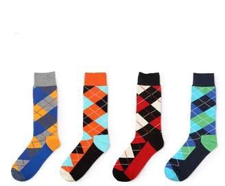 NNHKY Men Cotton Socks Argyle Pattern Male Business Crew Long Sox Color 4-pack