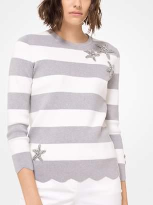 Michael Kors Embellished Striped Cotton Pullover