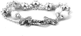 John Hardy 925 Sterling Silver Dot Triple Row White Moonstone Bracelet