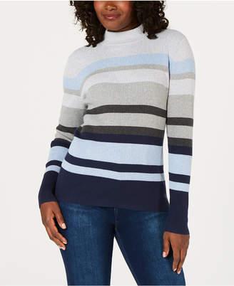 Karen Scott Cotton Striped Mock-Turtleneck Sweater
