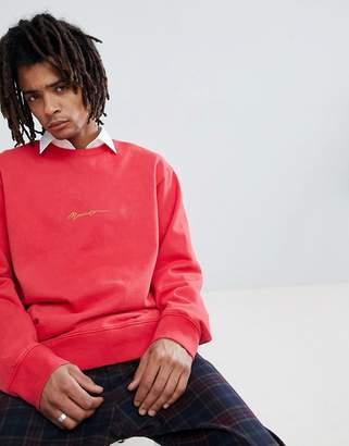 Mennace sweat with logo in coral