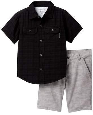 Calvin Klein Jacquard Woven Shirt & Woven Shorts Set (Little Boys)