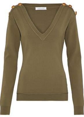 Pierre Balmain Button-Embellished Stretch-Knit Sweater