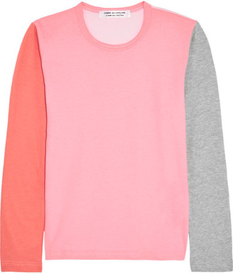 Comme des Garçons Comme des Garçons - Color-block Cotton-jersey Top - Pink $170 thestylecure.com