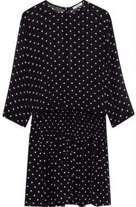 Ganni Monette Shirred Polka-Dot Georgette Mini Dress