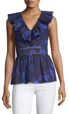 Kate Spade Hibiscus Ruffle Neck Cotton Top