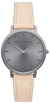 Rebecca Minkoff Major Grey Ion Plated Tone Blush Strap Watch, 35Mm