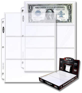 Asstd National Brand Bcw 3-Pocket Currency And Coupon Size Binder Pages (100 Ct. Box)