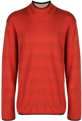 Issey Miyake Pre-Owned striped lining turtleneck jumper