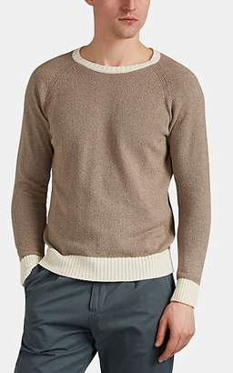 Eleventy Men's Contrast-Trimmed Cotton-Blend Bouclé Shirt - Beige, Tan