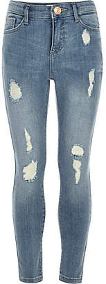 River Island Girls blue ripped Amelie super skinny jeans