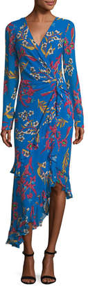 Etro Floral-Print Silk Wrap Midi Dress