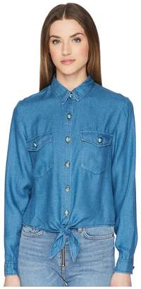 The Kooples Cropped Knot Shirt with Turquoise Buttons
