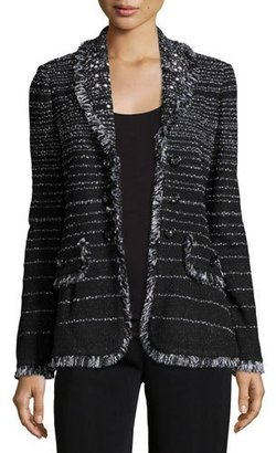 Misook Fancy Fringe Striped Jacket, Black $798 thestylecure.com