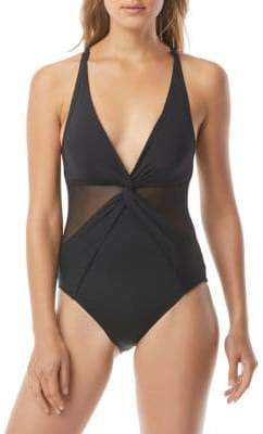 MICHAEL Michael Kors Urban Gypsy One-Piece V-Neck Swimsuit