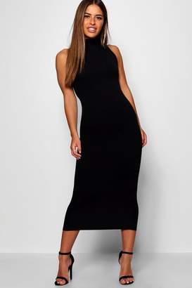 eeef23d249f2 boohoo Petite Crepe High Neck Column Maxi Dress