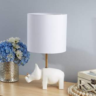 Silverwood Gold Accented White Rhino Table Lamp with Shade, CFL bulb included