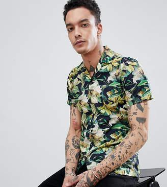 Heart & Dagger skinny smart revere collar hawaiian shirt