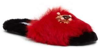 Ivy Kirzhner Lumi Dyed European Genuine Rabbit Fur Embellished Slipper
