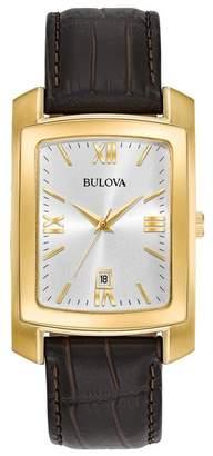Bulova Men's Croc Embossed Leather Strap Watch, 47mm