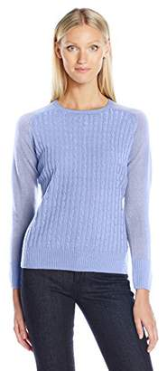 Sag Harbor Women's Crew Neck Cable-Front Pullover Cashmerlon Sweater