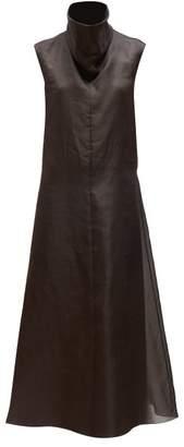 The Row Virginia Funnel Neck Silk Organza Midi Dress - Womens - Dark Brown