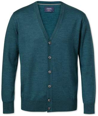 Green Merino Wool Cardigan Size Large by Charles Tyrwhitt